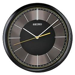 Seiko 12 Sleek Black & Grey Wall Clock