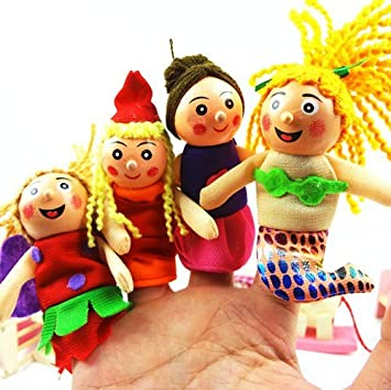 Kuhu Creations Supreme 4 Pcs Wooden Mermaid, Baby Story Telling Finger Puppets.