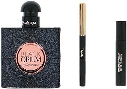 Black Opium by Yves Saint Laurent for Women 3 Piece Set Includes: 1.6 oz Eau de Parfum Spray + 1 Luxurious Mascara for False Lash Effect No. 1 + Long-Lasting Eye Pencil No. 1