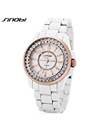 SINOBI Fashion Crystal Enamel Bracelet Women Watches, Waterproof Business Casual Lady jewelry Watch White