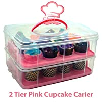 Snap and Stack Pink Cupcake Storage Carrier 2 Tier - Store up to 24 Cupcakes by Mister Chef