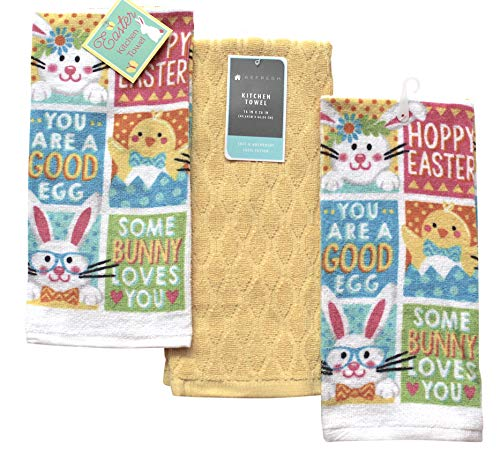 (Easter Spring Holiday Kitchen Dish Towels: (Fun Patch with Solid Yellow Towel))