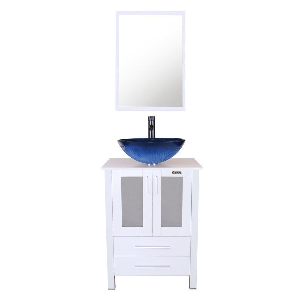 U-Eway 24 Bathroom Vanity Vessel Sink Combo Tempered Glass Sink Bowl 1.5 GPM Faucet Oil Rubbed Bronze, Bathroom Vanity Sink Combo Hot Melt Technology White