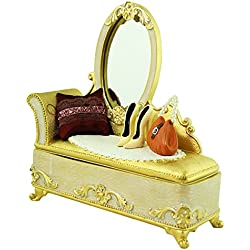 Victorian Mirror Vanity Jewelry Box Ring Organizer Vintage Style 7.5 Inches, Ivory