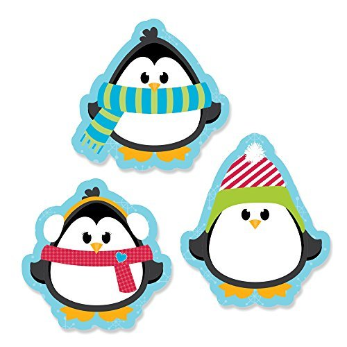 Holly Jolly Penguin - DIY Shaped Holiday & Christmas Cut-Outs - 24 Count - Penguin Dots