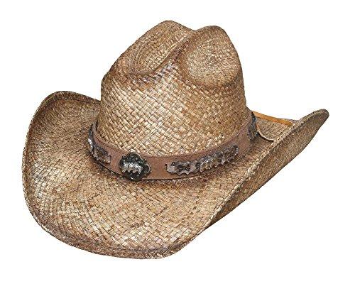 Montecarlo Bullhide Hats COLD BLOODED Raffia Straw Western Cowboy Hat (XLarge) (Western Raffia Straw)