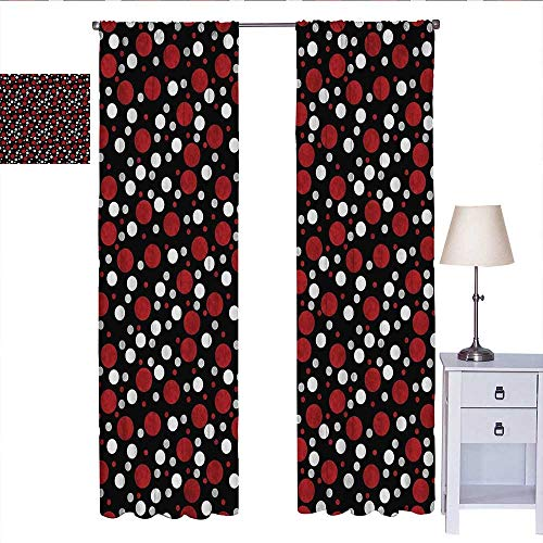 RenteriaDecor Red and Black Black Out Window Curtain Retro 60s 70s Cartoon Snow Like Polka Dots Circles Rounds Curtain Valance White Pale Grey and Burgundy W72 x L108 (Valance Circle Dot)