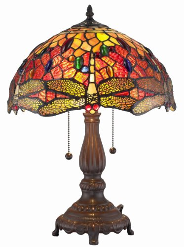 Amora Lighting AM1035TL14 Tiffany Style Dragonfly Table Lamp 2 lights, 14
