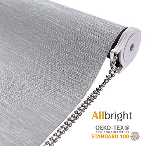 "ALLBRIGHT Thermal Insulated Fabric 100% Blackout UV Protection Striped Jacquard Roller Shades for Windows,Easy to Install (Gray, 34"")"