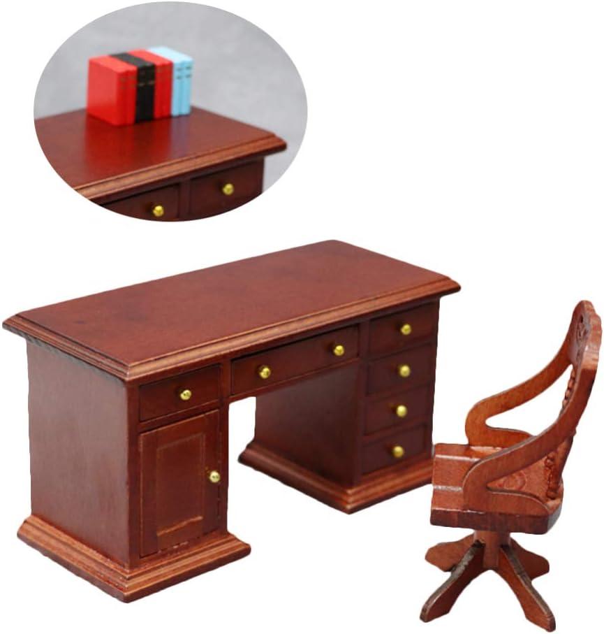 CASA Delle Bambole Sedia da scrivania bianco noce in miniatura STUDIO Office Furniture