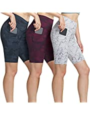 ATHLIO Women's (Pack of 3) Active High-Waist Tummy-Control Bike Running Yoga Shorts with Side Pocket