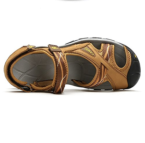 Color Outdoor Sandals Breathable Camel Durable Traveling Yellow Leather Size 37 M EU Shoes Cow Womens Sandals Rwvq5vU