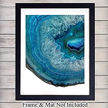Blue Agate Gemstone Wall Art Print - 8x10 Unframed Photo - Makes a Great Gift for Geode Collectors and Home Decor