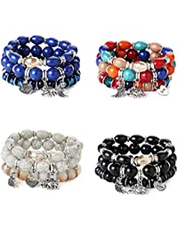Pottery & Glass Disciplined Women Lady Men Bracelet Multicolored Black Stones Wrist Hand Chain Wristband Outdoor Tools