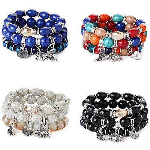Finrezio 4 Sets Bohemian Beaded Bracelets for Women Girls Multilayer Stretch Stackable Elephant Wing Love Heart Bracelet Set Multicolor Jewelry