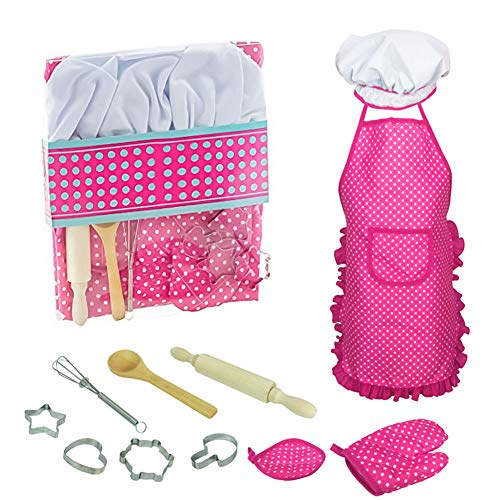 Children Chef Set, 11PCS Cooking and Baking Custom for Kitchen Role Playing, Chef Apron, Hat, Mitt, Utensils for Little Girls and Boys