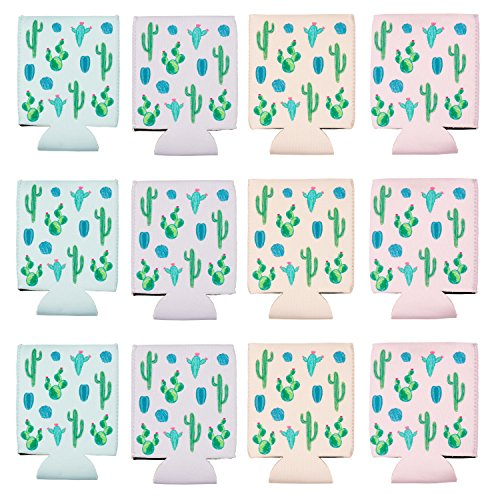 Beer Sleeve - 12-Pack Cactus Can Covers Drink Holder with Insulated Covers, 12-Ounce Neoprene Coolers for Soda, Beer, Can Beverage, 4 Pastel Colors, 2.5 x 2.5 x 4.2 Inches by Blue Panda