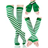 Boao St. Patrick Striped Arm Warmers Long Stretched Stockings Fingerless Gloves (Color Set 1)
