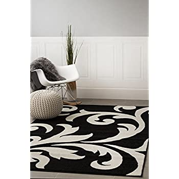 This Item Super Area Rugs, Metro Black Damask Rug 5 Feet By 8 Feet 5x8  Designer Area Rug