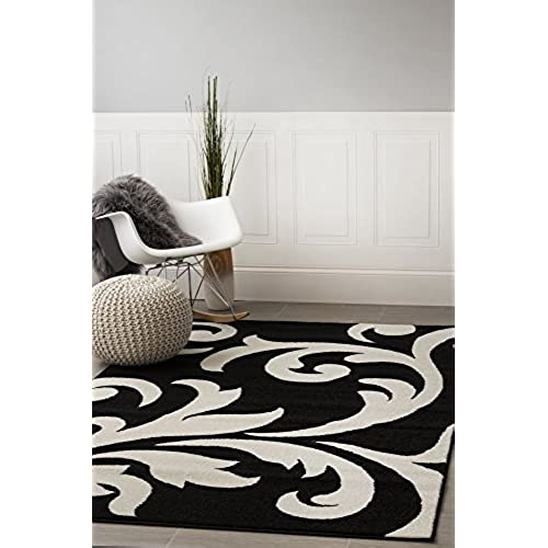 super area rugs metro black damask rug 5 feet by 8 feet 5x8 designer area rug - Black And White Rugs