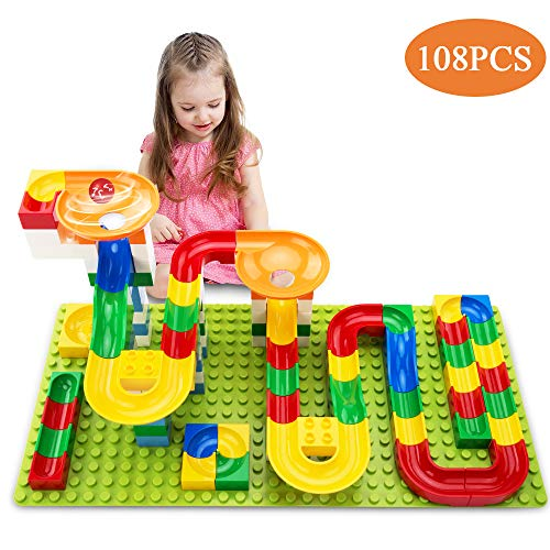 TEMI 108 PCS Marble Run Upgraded Sets for Kids | Marble Race Track for 3+ Year Old Boys and Girls | Marble Roller Coaster Building Block Construction Toys | Puzzle Maze Set with 4 Marbles Balls