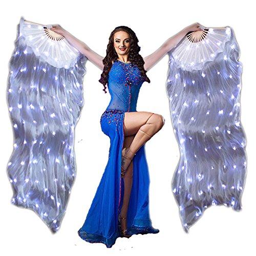 Nimiman LED Light Belly Dance Fan Veil 1 Pair 100% Silk Belly Dance Costume Accessories (White) -