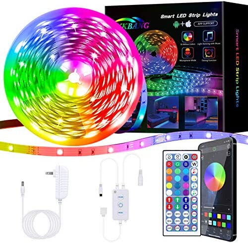 Binkbang Led Lights for Bedroom 25 Feet Led Strip Lights RGB Led Light with 24 Key Remote Smart App Control Tape Strips DIY Color Changing Timing Music Sync Rope Lights for Home Tv Party