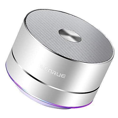Portable Bluetooth Speakers-Lenrue Mini Wireless Outdoor Rechargeable Speakers with LED,Built-in-Mic,Handsfree Call,AUX Line,TF Card,HD Stereo Sound and Bass for iPhone Ipad Android Phone (Silver-1)
