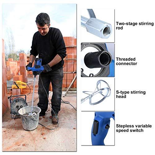 Pudincoco Stepless R/égulation De La Vitesse Puissant Industrie M/élangeur /Électrique Moteur Agitateur 1900w Ciment M/élangeur Machine EU Plug