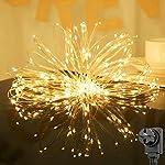 Salcar 20m 200er LED decorativo luce + 3M Cavo di alimentazione, 4.5V Alimentazione di sicurezza, Copper LED luce per la casa, Albero di Natale, Bar, Decorazione con funzione memoria – Bianco Caldo