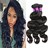 "FeiBin 8A Grade Virgin Brazilian Body Wave Hair 3 Bundles 100% Unprocessed Brazilian Virgin Human Hair Extensions Body Wave Natural Color 10"" 12"" 14"""