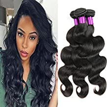 "FEIBIN 8A Grade Virgin Brazilian Body Wave Hair 3 Bundles 100% Unprocessed Brazilian Virgin Human Hair Extensions Body Wave Natural Color 10"" 12"" 14"""