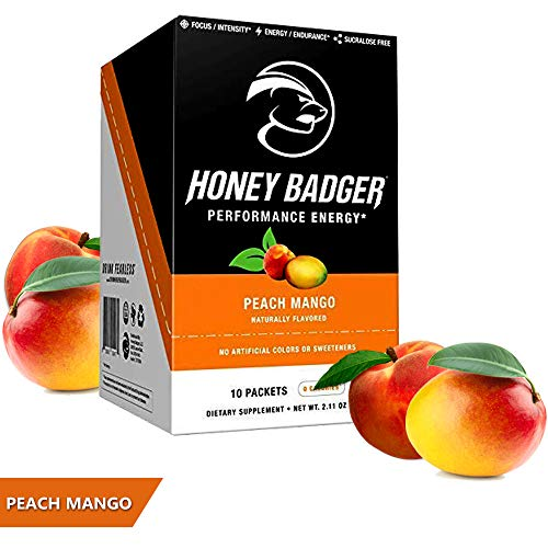 Honey Badger Natural Keto Pre Workout for Men & Women (Performance Energy, Paleo, Nitric Oxide, Amino Acids, Peach Mango, 10 Packets, Vegan, Sugar Free, Sucralose Free, Naturally Flavored & Sweetened)