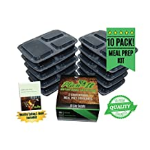 Meal Prep Containers | Plan-It Nutritional Solutions | 3 Compartment Reusable, Microwavable, Dishwasher Safe Lunch Bento Box | 10 Day Prep Set with BONUS Clean Eating Guide E-Book | 32 oz