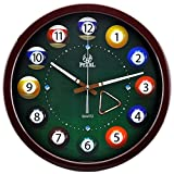 14 Inch Bar Billiards Multicolor Modern Non Ticking Silent Quartz Analog Digital Wall Clock (Brown)