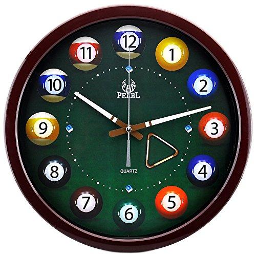 14 Inch Bar Billiards Multicolor Modern Non Ticking Silent Quartz Analog Digital Wall Clock (Brown)