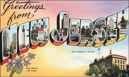 Greetings From New Jersey USA Vintage Poster Repro