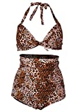 Women's Sexy High Waist Polka Dots Halter Swimwear Leopard Print 2XL (US: 10-12)