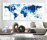 Original by BoxColors XLARGE 30''x 70'' 5 Panels 30''x14'' Ea Art Canvas Print Watercolor Map World Countries Cities Push Pin Travel Royal blue Wall decor Home interior (framed 1.5'' depth)