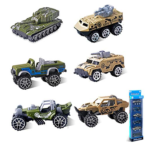 Gimilife Toy Vehicles for Toddlers, 6 Set Toy Cars,Army Tank Toys,Play Vehicles Baby Educational Toys Gifts for Boys Girls Baby Kids Over 3 Years