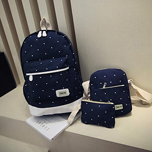 Prosperveil Cute Female Backpack Dark Three Spots School Canvas Blue Piece Korean TwIrw4
