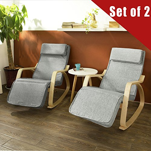 Haotian Comfortable Relax Rocking Chair, Gliders,Lounge Chair Recliners with Adjustable Footrest & Side Pocket FST18, Set of 2,IN ANY COLOR (Us Reclining Rocking Chair)