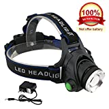 LED Headlamp  - 3 Modes Headlight, T6 Flashlight Headlamp, Battery Powered Helmet Light for Camping, Running, Outdoor fishing,hiking and reading, present a charger -[DAGO-Mart Quality Guarantee]