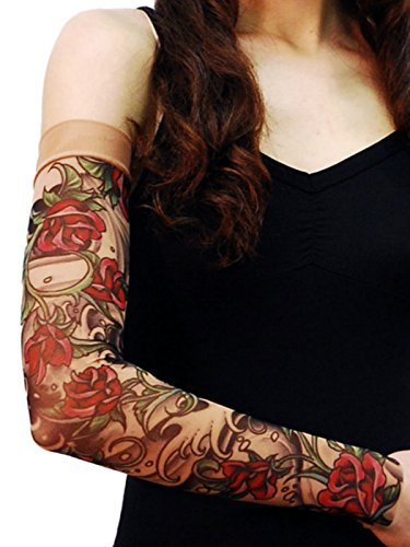 Wild Rose Unisex SHEISHE Red Rose Single Tattoo Mesh Sleeve Black Water, Tan, Small