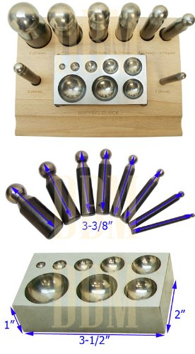 10 PC Set Jeweler Jewelry Dapping Block Doming Punch Puncher Metal Craft Forming by Generic (Image #2)