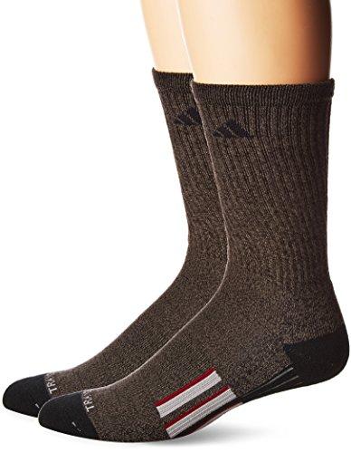 Socks Crew Adidas Tennis (adidas Men's Climalite X II Crew Socks (2-Pack), Black Graphite Marl/Black/Light Onix/Collegiate Burgundy, Large)