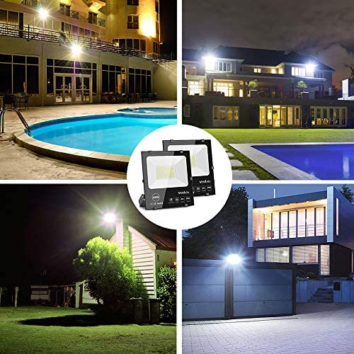 MOSFiATA 2 Pack LED Flood Light 100W, 250 LED 11000 Lumen Super Bright Floodlight IP66 Waterproof Outdoor Work Light 6000K Daylight White Security Lights for Garden Yard Lawn Basketball Court