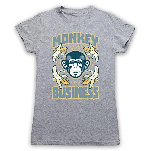 Monkey Business Funny Camiseta para Mujer Gris Claro
