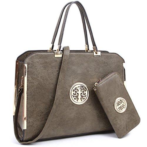 MMK Handbag for women 2 pieces set satchel handbags matching wallet(6900w-GN) ()
