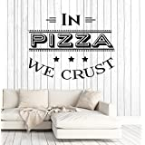 Vinyl Wall Decal Pizza Quote Pizzeria Italian Restaurant Kitchen Stickers Large Decor (ig4905) Black